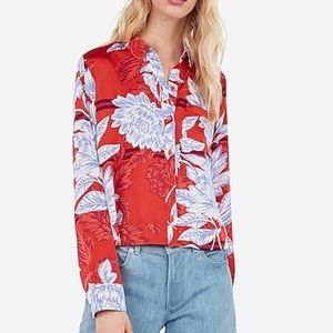 Satin floral button up